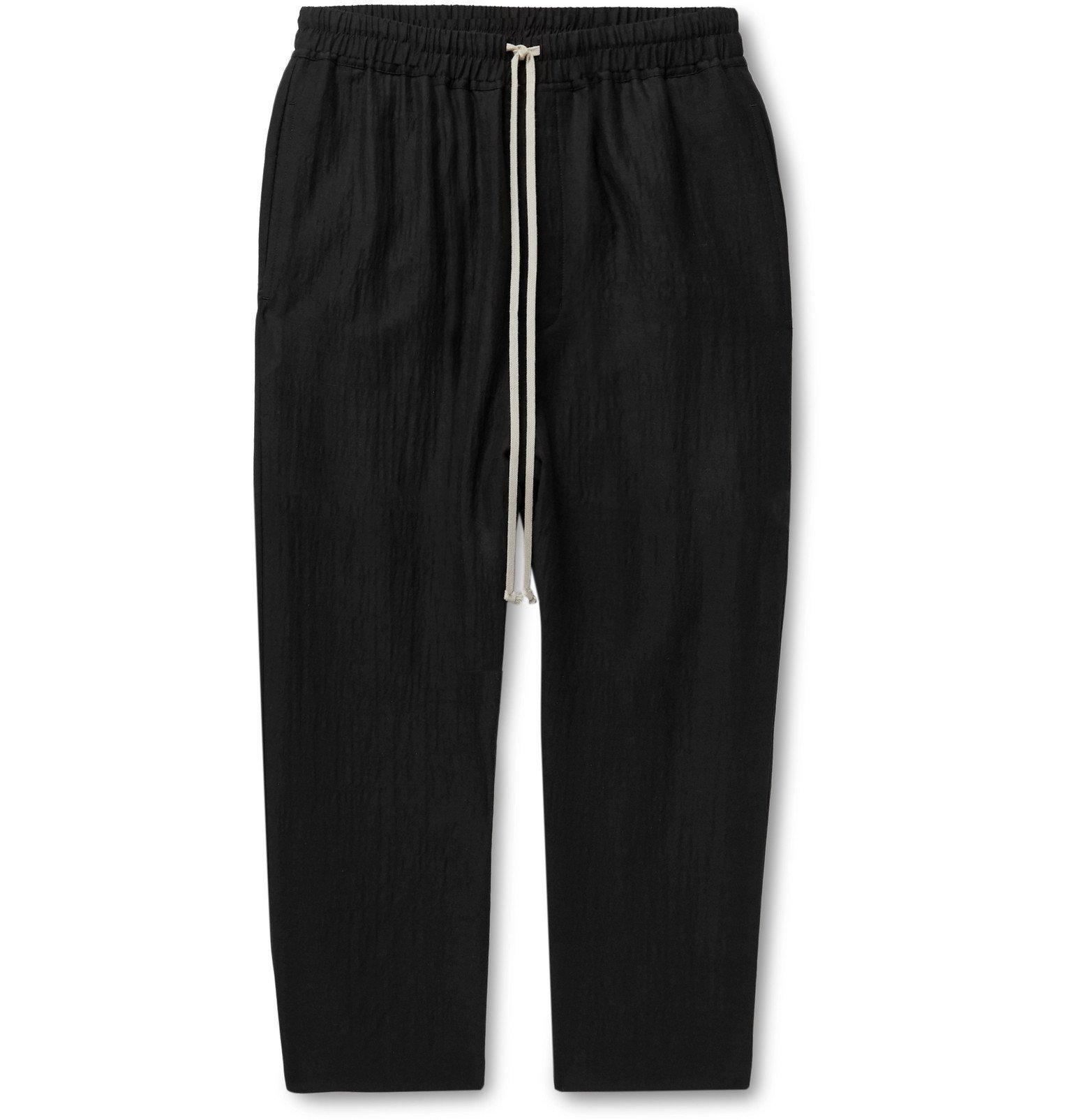 Photo: Rick Owens - Black Cropped Wool-Blend Seersucker Drawstring Trousers - Black
