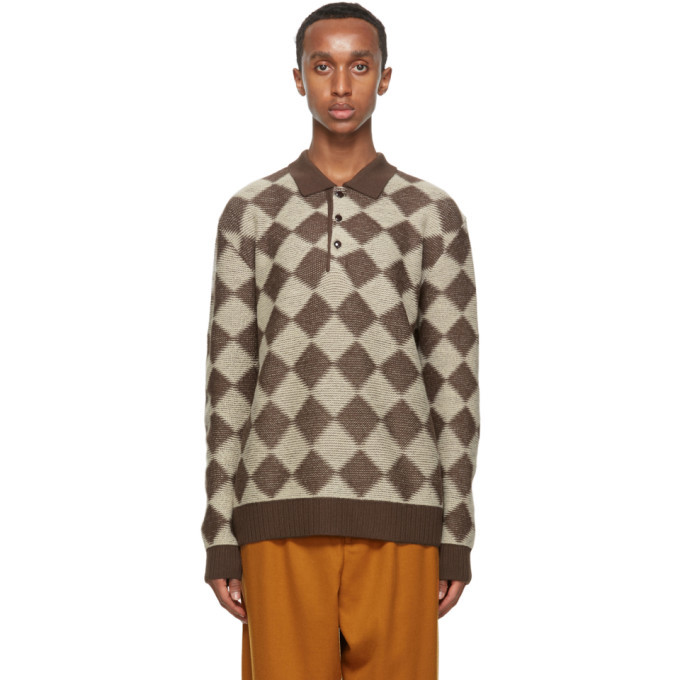 Photo: Needles Brown and Beige Wool Check Long Sleeve Polo
