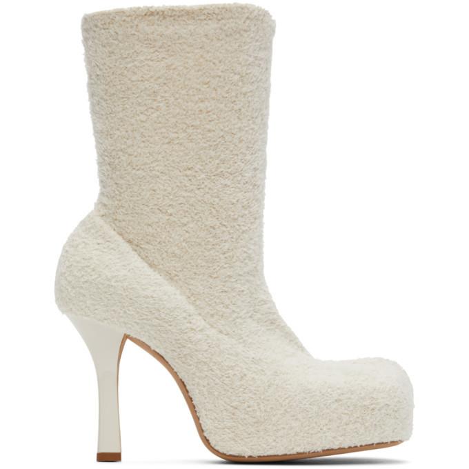 Photo: Bottega Veneta Off-White Knit BV Bold Boots