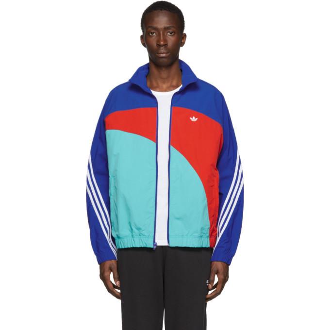 adidas Originals Blue and Red Off-Center Windbreaker Jacket