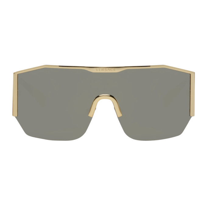 Photo: Versace Gold and Grey Mirror Shield Sunglasses