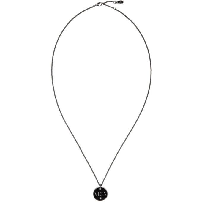 Photo: Valentino Silver and Black Valentino Garavani Logo Necklace