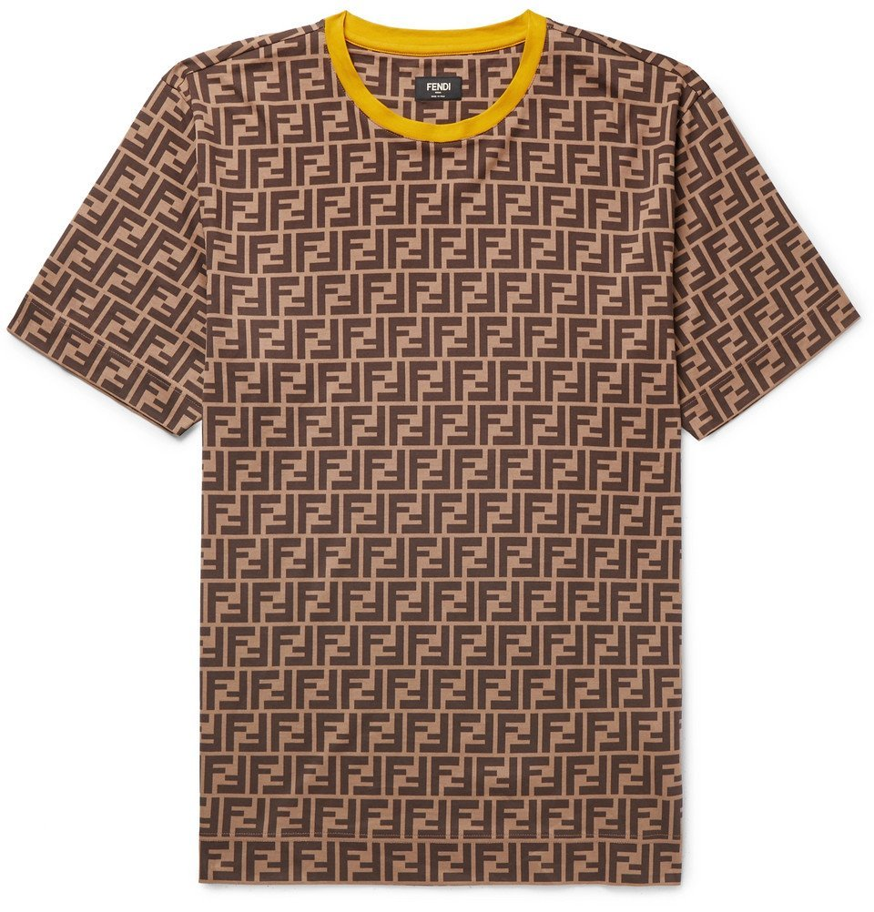Photo: Fendi - Logo-Print Cotton-Jersey T-Shirt - Brown