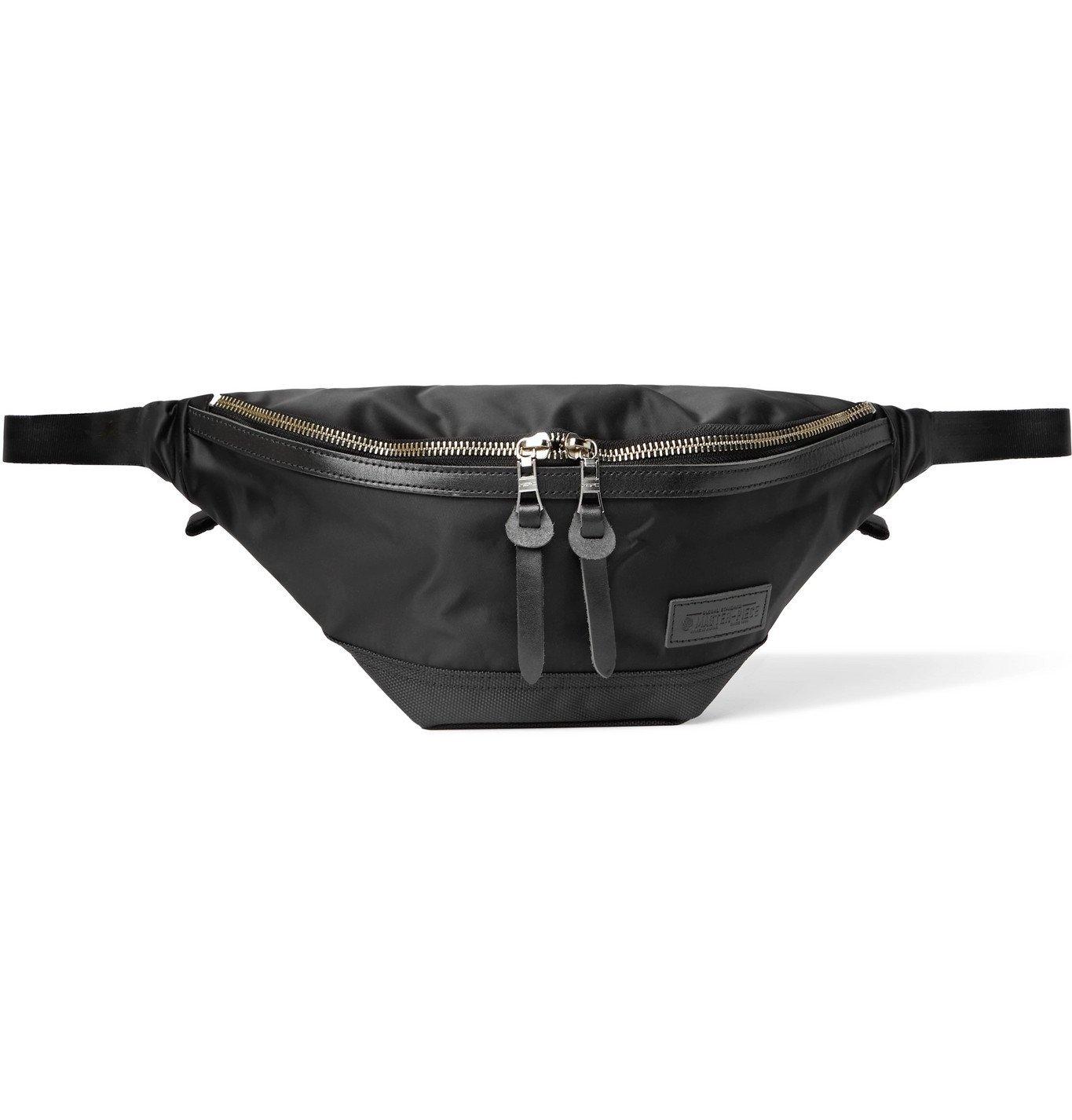 Photo: Master-Piece - Lightning Leather- and Webbing-Trimmed Nylon-Twill Belt Bag - Black