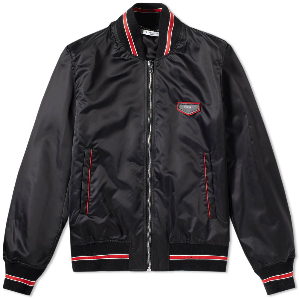Photo: Givenchy Star Tape Leather Patch Bomber Jacket