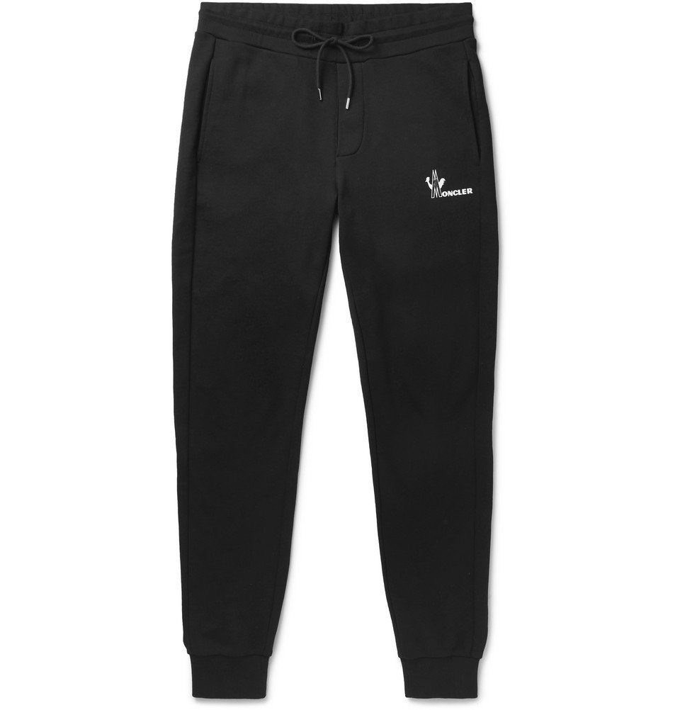 Photo: Moncler - Tapered Loopback Cotton-Jersey Sweatpants - Black