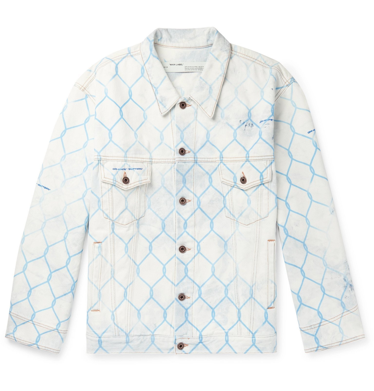 Photo: Off-White - Oversized Printed Bleached Denim Jacket - White