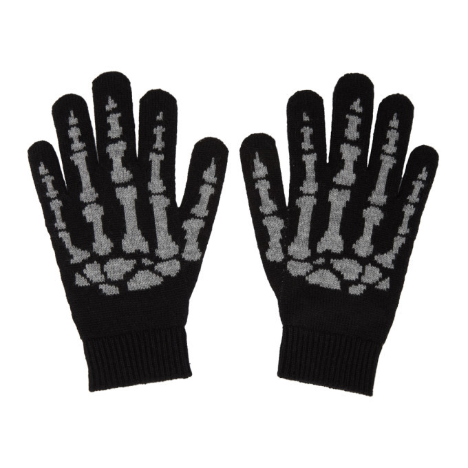Photo: Saint Laurent Black Cashmere Skeleton Gloves