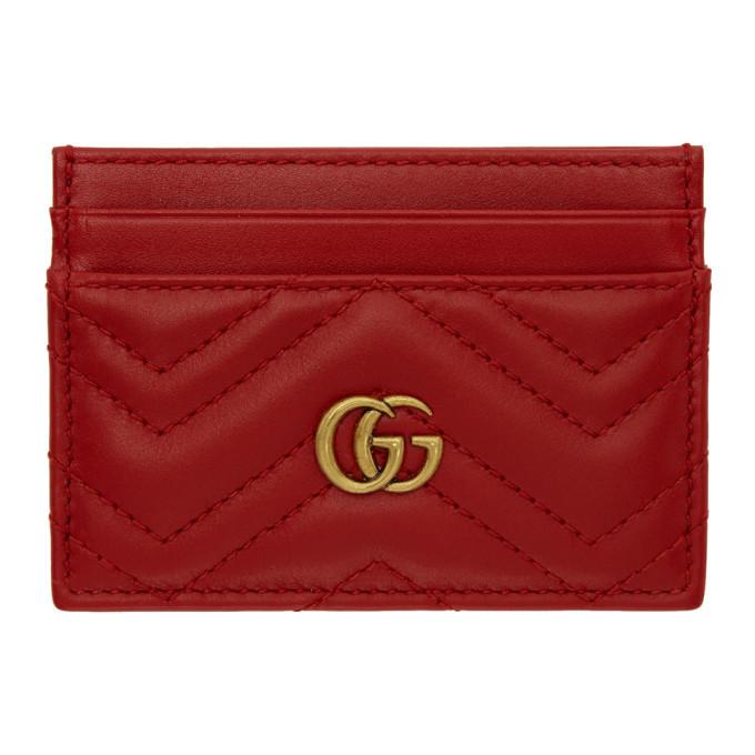fd115faff3bb Gucci Red GG Marmont 2.0 Chevron Card Holder Gucci