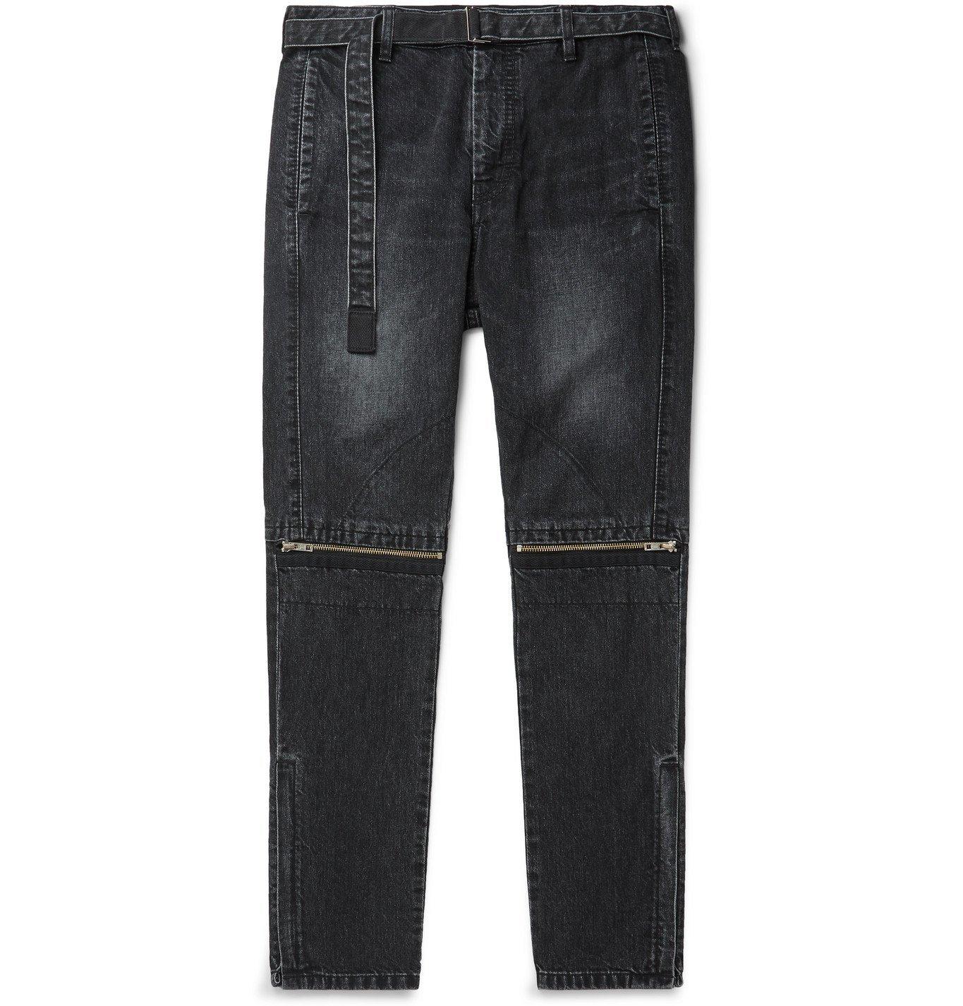 Sacai - Slim-Fit Belted Denim Jeans - Black