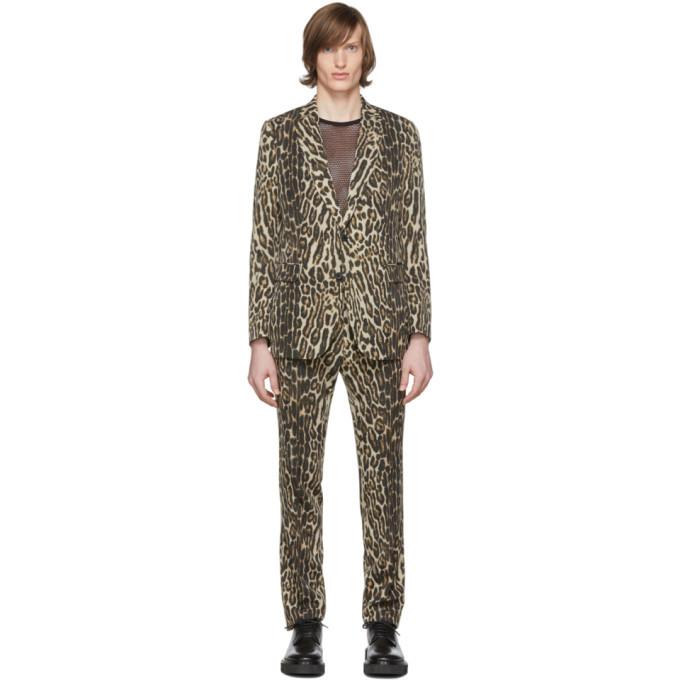 Photo: Dries Van Noten Black and Beige Wool Kline Ocelot Suit