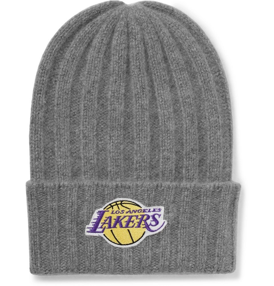 Photo: The Elder Statesman - NBA Los Angeles Lakers Appliquéd Cashmere Beanie - Gray