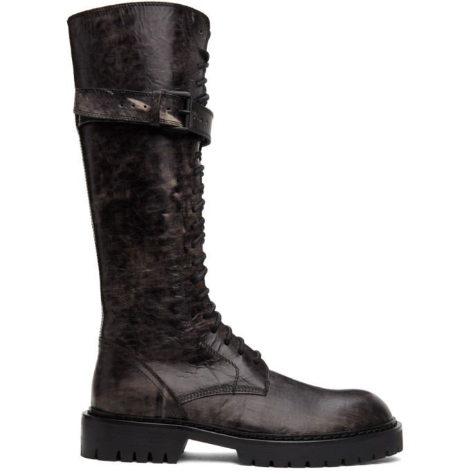 Photo: Ann Demeulemeester SSENSE Exclusive Black Distressed Buckle Riding Boots
