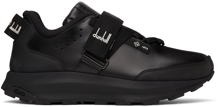 Photo: Dunhill Black Aerial Strap Runner Sneakers