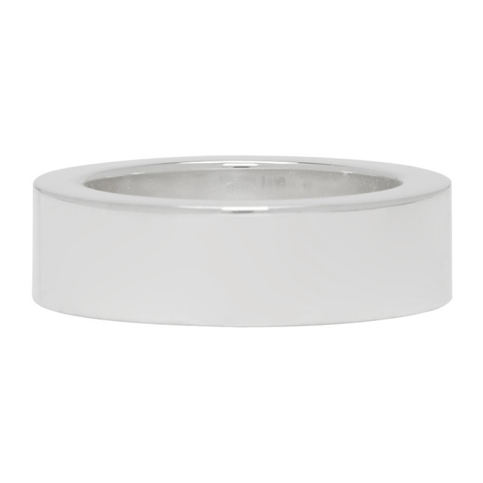 Photo: Bottega Veneta Silver Small Flat Ring