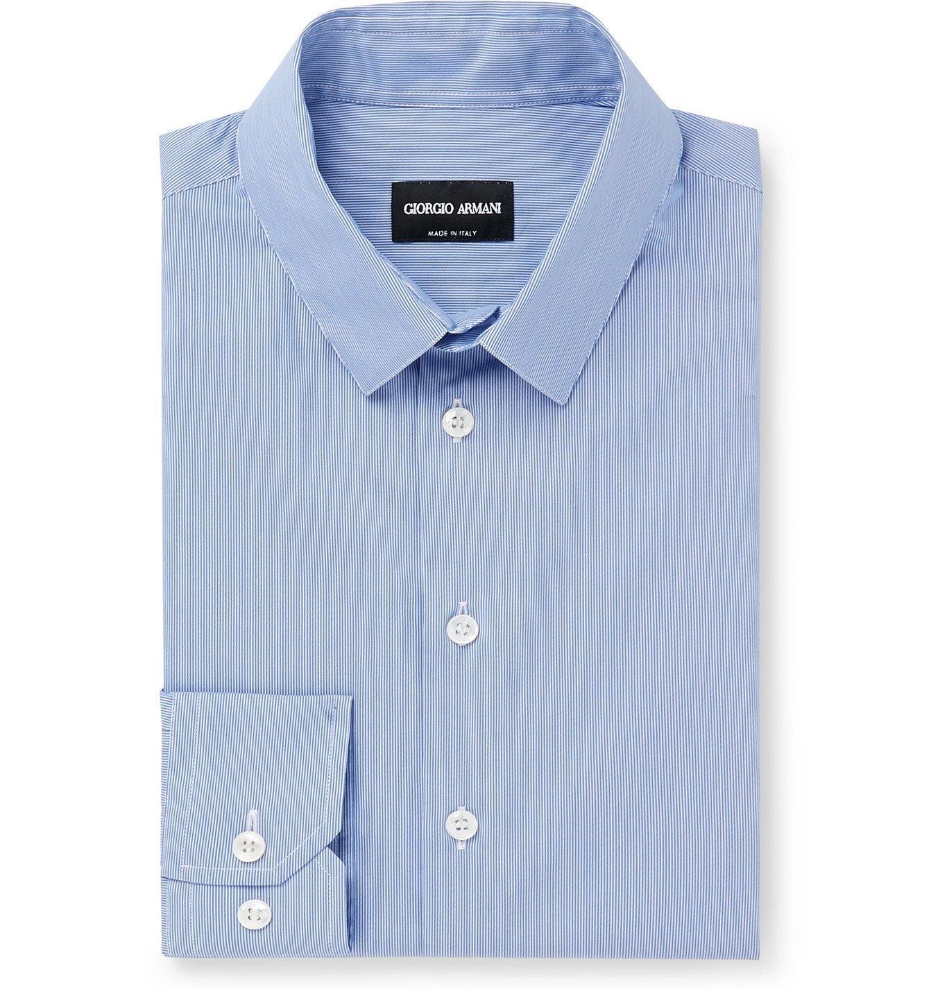 Giorgio Armani - Slim-Fit Pinstriped Cotton-Blend Poplin Shirt - Blue