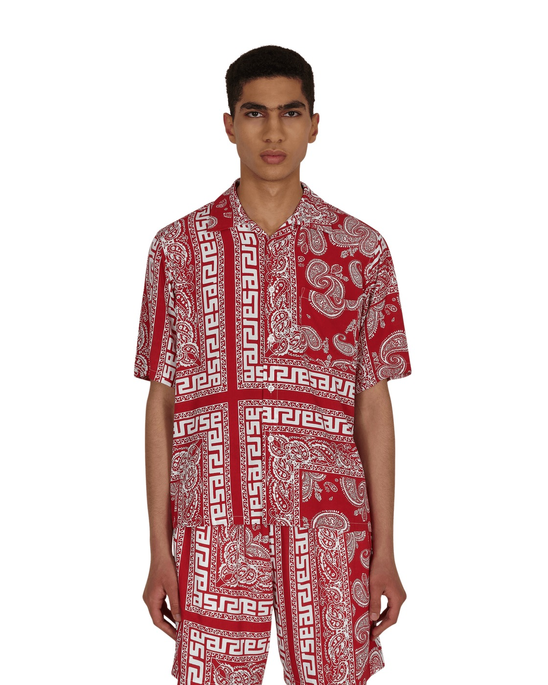 Aries Bandana Print Hawaiian Shirt Red