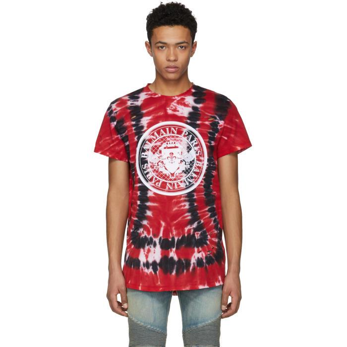 Photo: Balmain Red Tie-Dye Distressed Logo T-Shirt