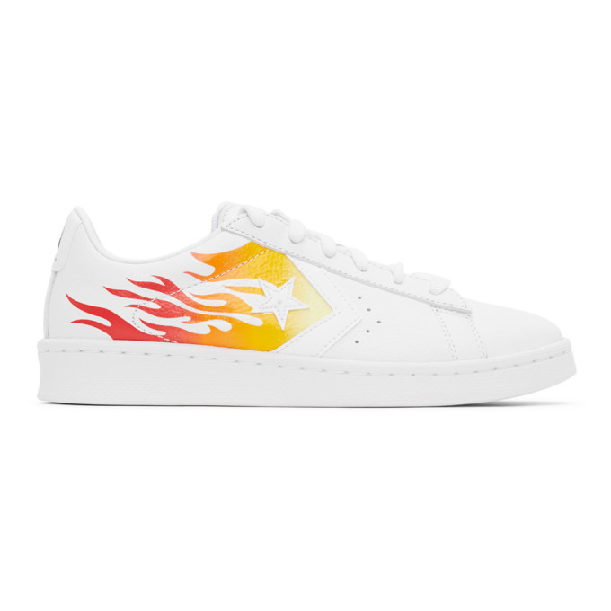Photo: Converse White Flame Pro Leather OX Sneakers