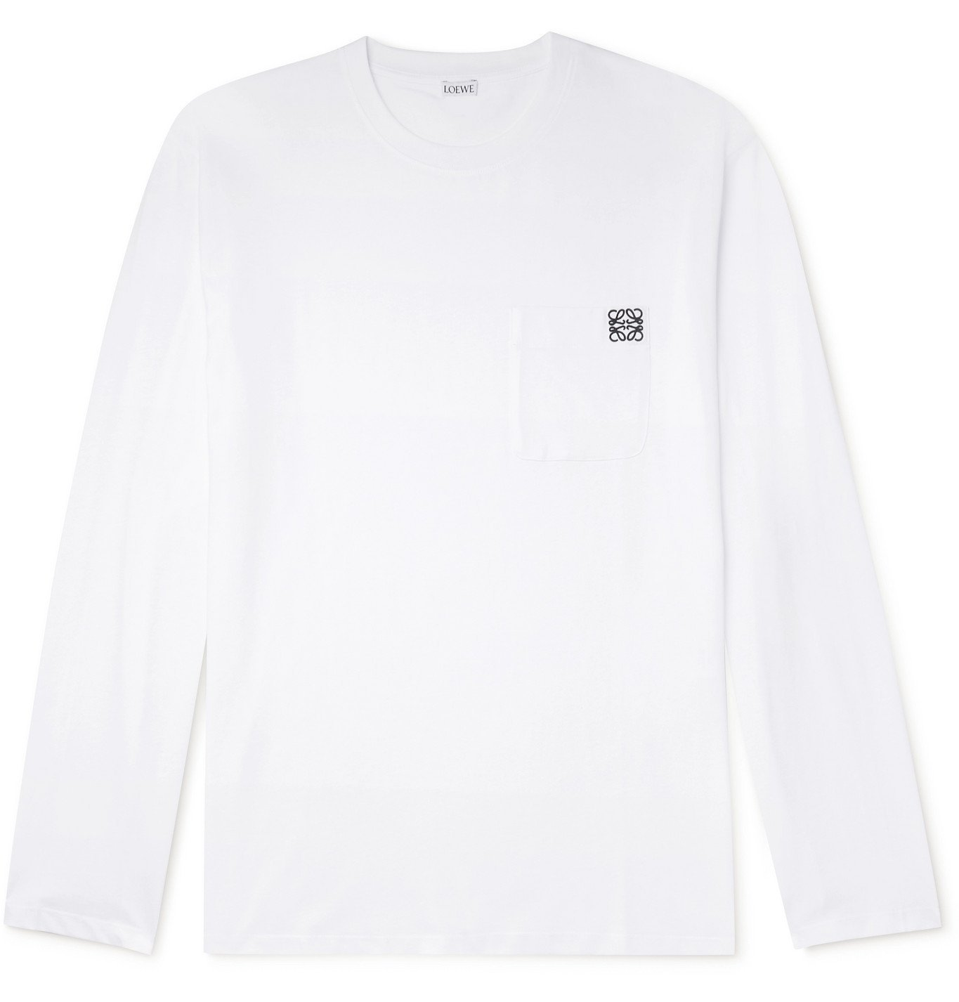 Photo: Loewe - Logo-Embroidered Cotton-Jersey T-Shirt - White
