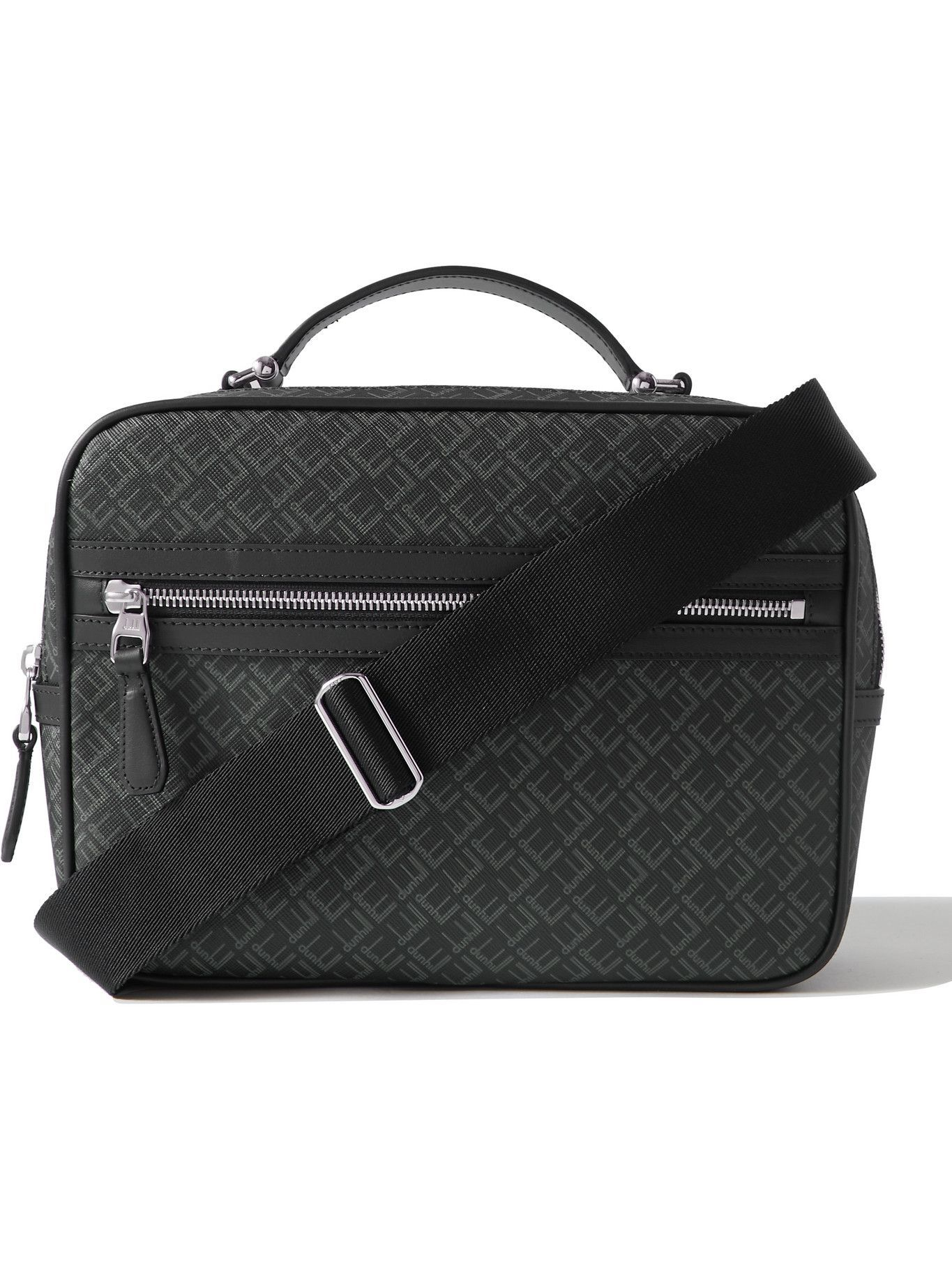 Photo: Dunhill - Leather-Trimmed Logo-Print Coated-Canvas Messenger Bag