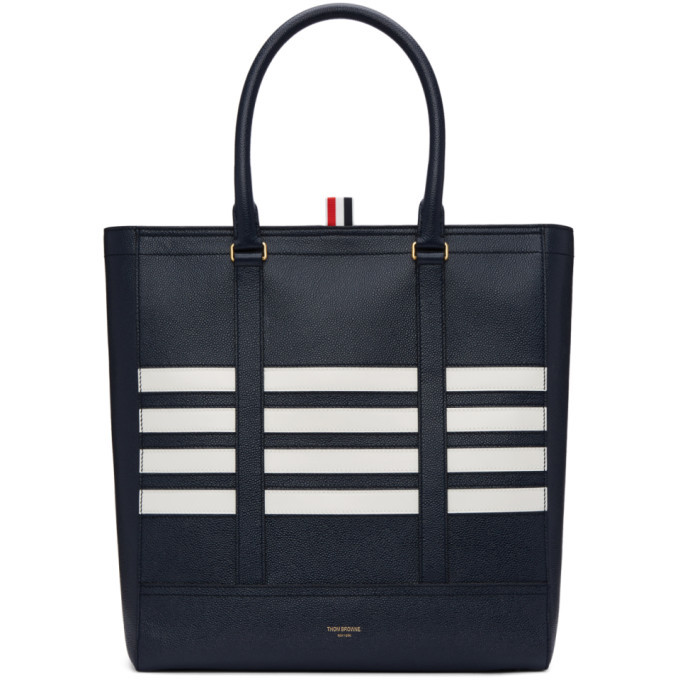 Photo: Thom Browne Navy Four Bar Tote