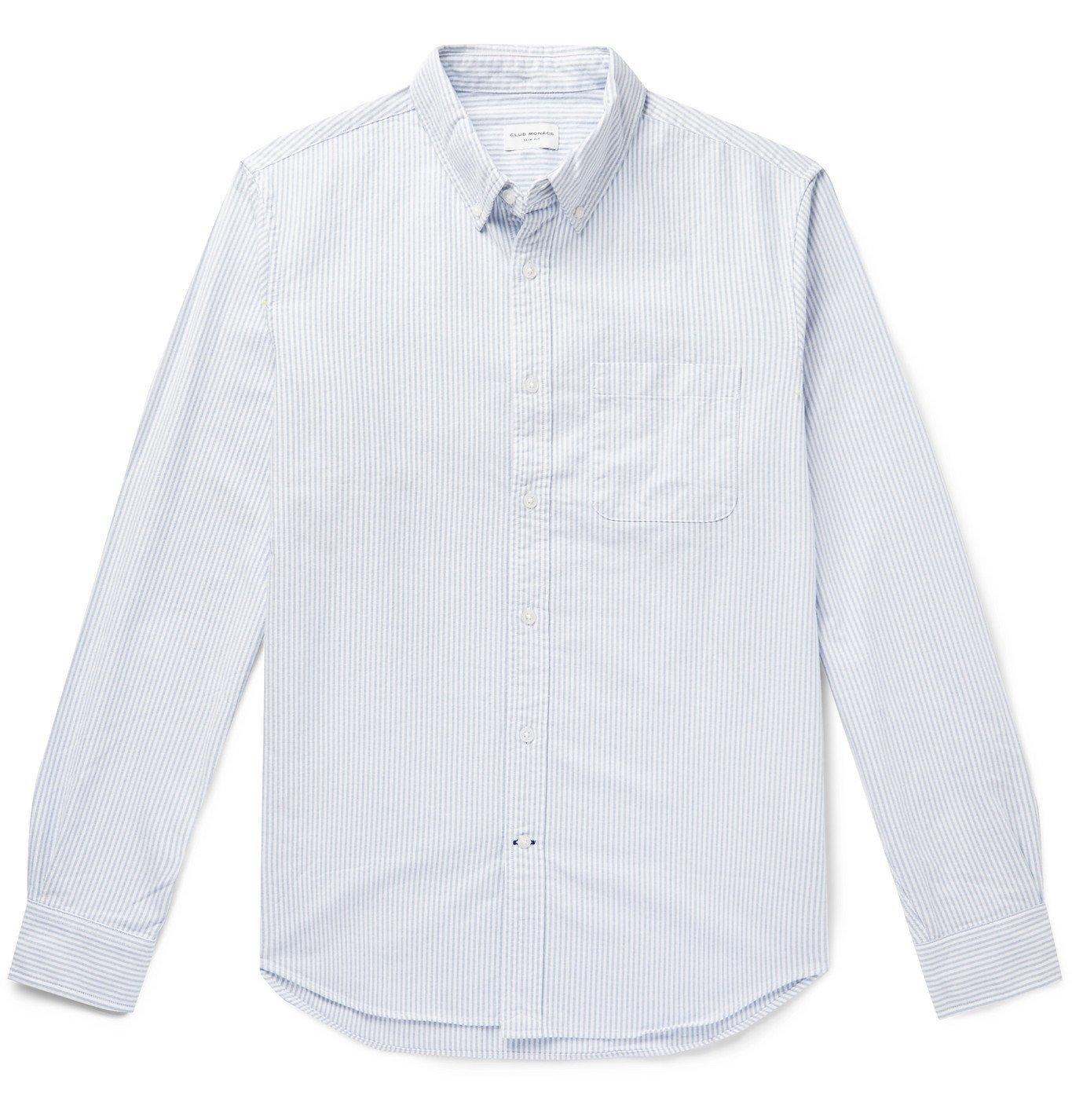 Photo: Club Monaco - Button-Down Collar Striped Cotton Oxford Shirt - Blue