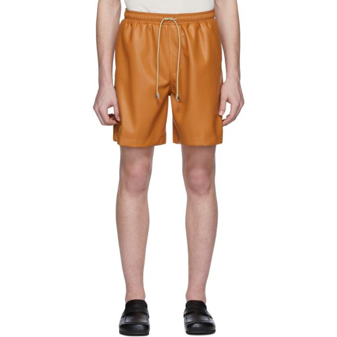Photo: Nanushka Orange Vegan Leather Doxxi Shorts