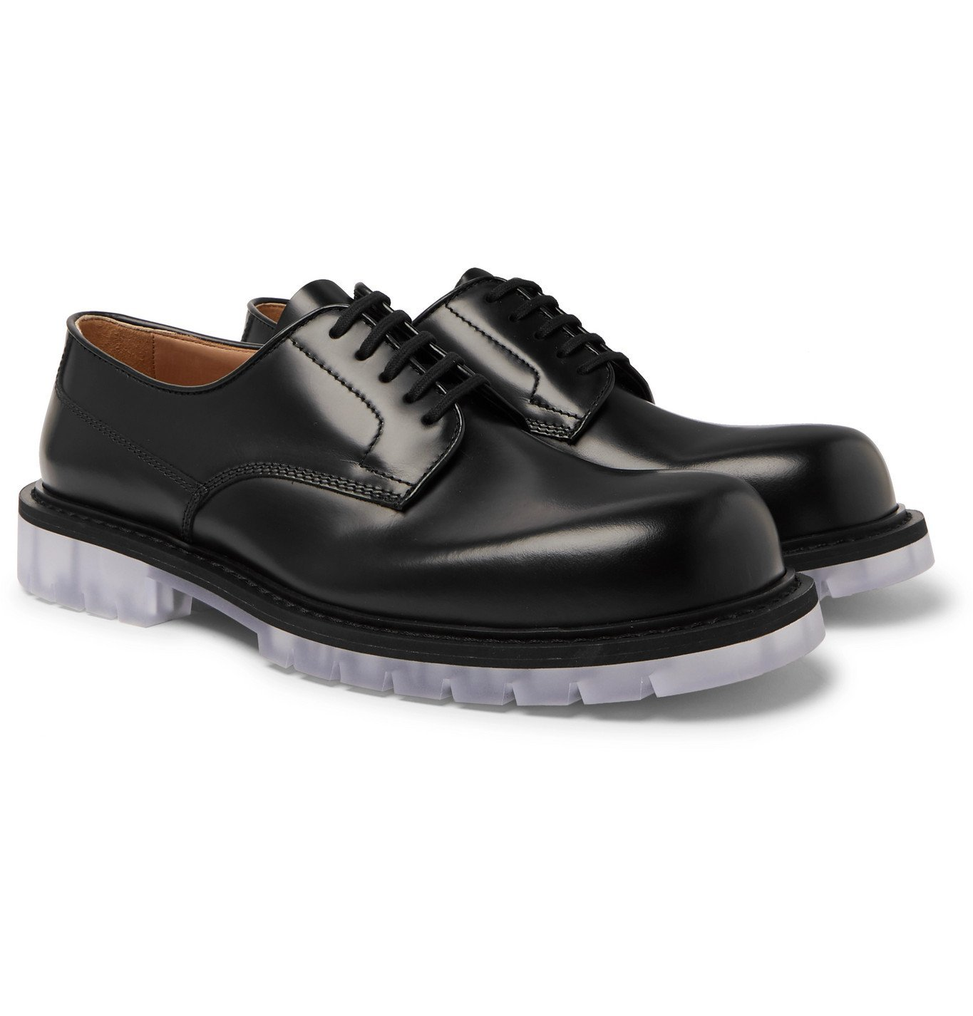 Photo: Bottega Veneta - Clear Sole Polished-Leather Derby Shoes - Black