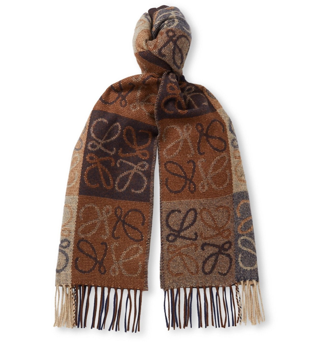 Photo: Loewe - Logo-Intarsia Fringed Wool and Cashmere-Blend Scarf - Brown