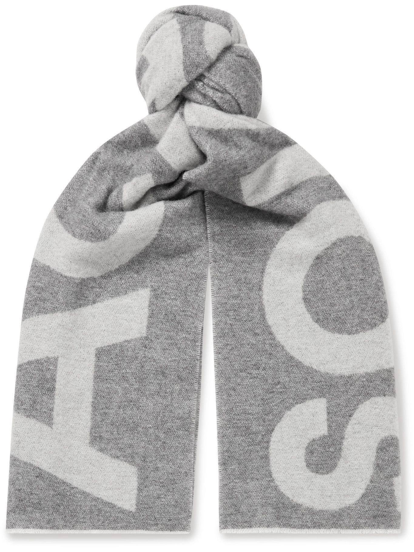 Photo: Acne Studios - Reversible Two-Tone Intarsia Wool-Blend Scarf