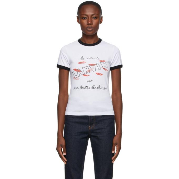 Photo: Lanvin White Lipstick Logo T-Shirt