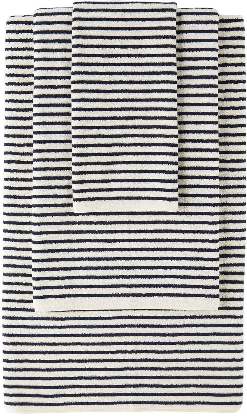 Photo: Tekla Off-White & Navy Organic Three-Piece Towel Set