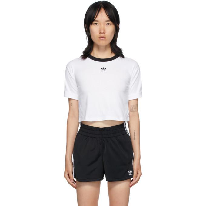 Photo: adidas Originals White Logo Crop T-Shirt