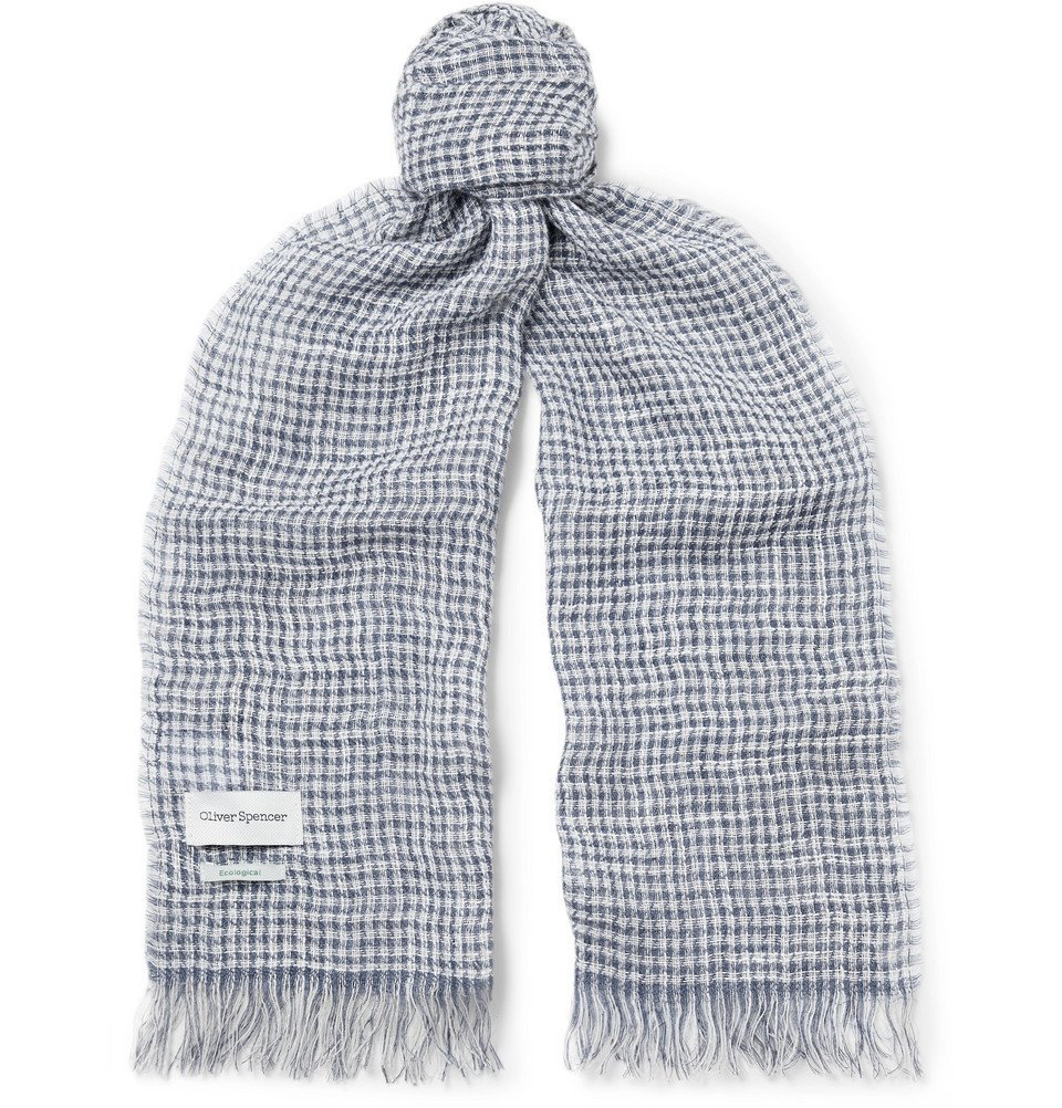 Photo: Oliver Spencer - Serio Fringed Checked Linen-Blend Scarf - Navy
