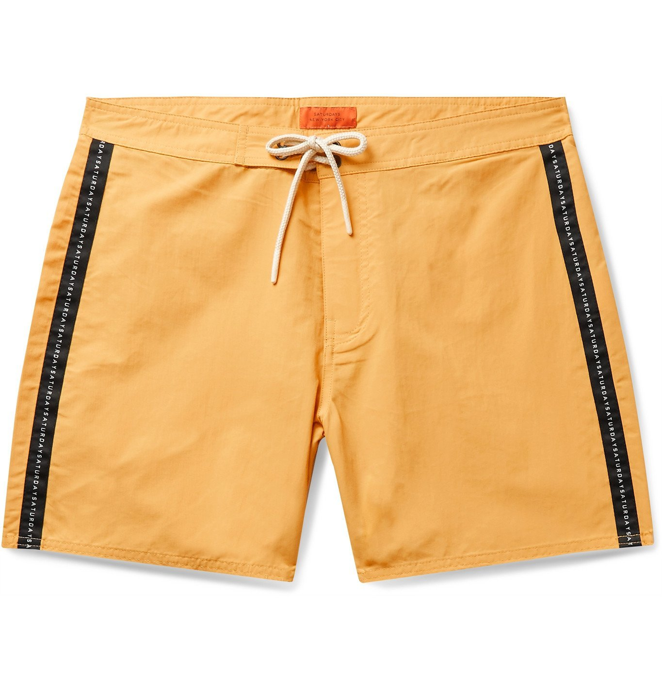 Photo: Saturdays NYC - Mid-Length Logo-Appliquéd Swim Shorts - Yellow