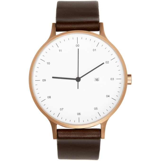 Photo: Instrmnt Rose Gold and Brown Leather Everyday Watch