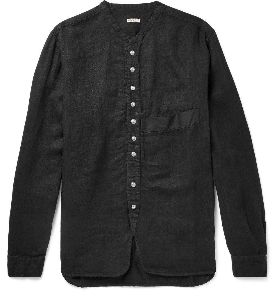 KAPITAL - Grandad-Collar Herringbone Cotton-Gauze Shirt - Black