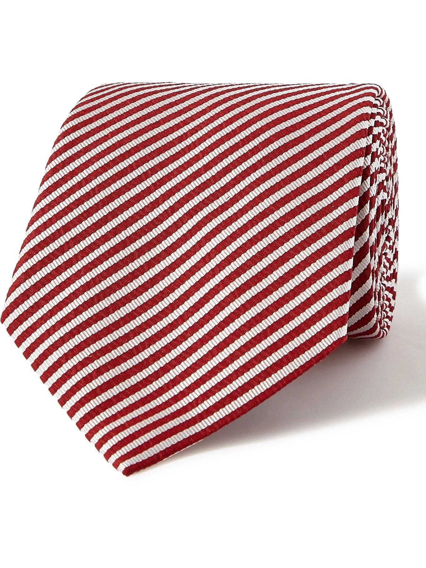 GIORGIO ARMANI - 8cm Striped Silk-Twill Tie - Red