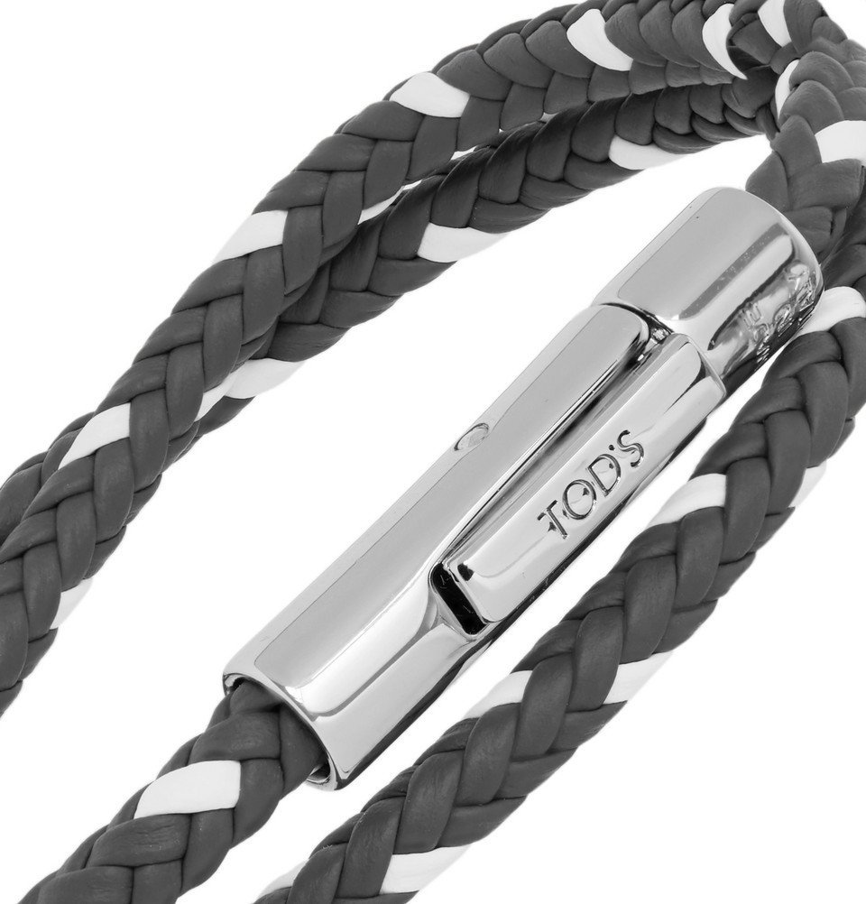 Tod's - Woven Leather and Silver-Tone Wrap Bracelet - Anthracite