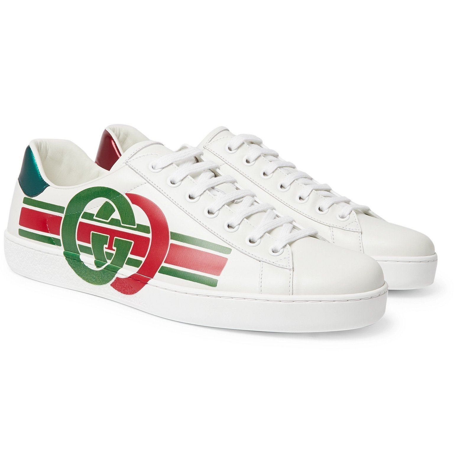 Photo: Gucci - Ace Printed Leather Sneakers - White