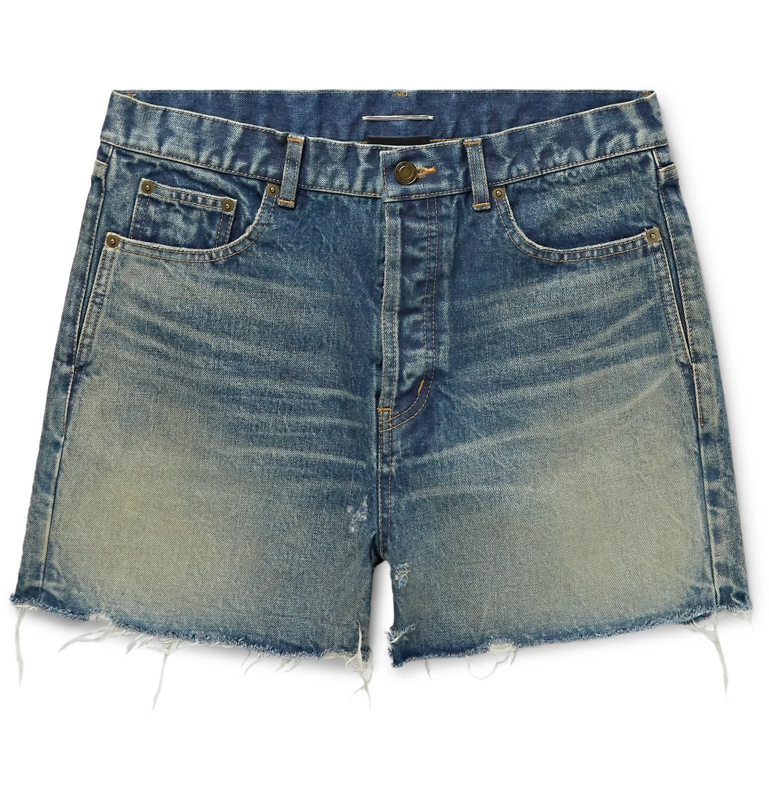 Photo: SAINT LAURENT - Slim-Fit Distressed Denim Shorts - Blue