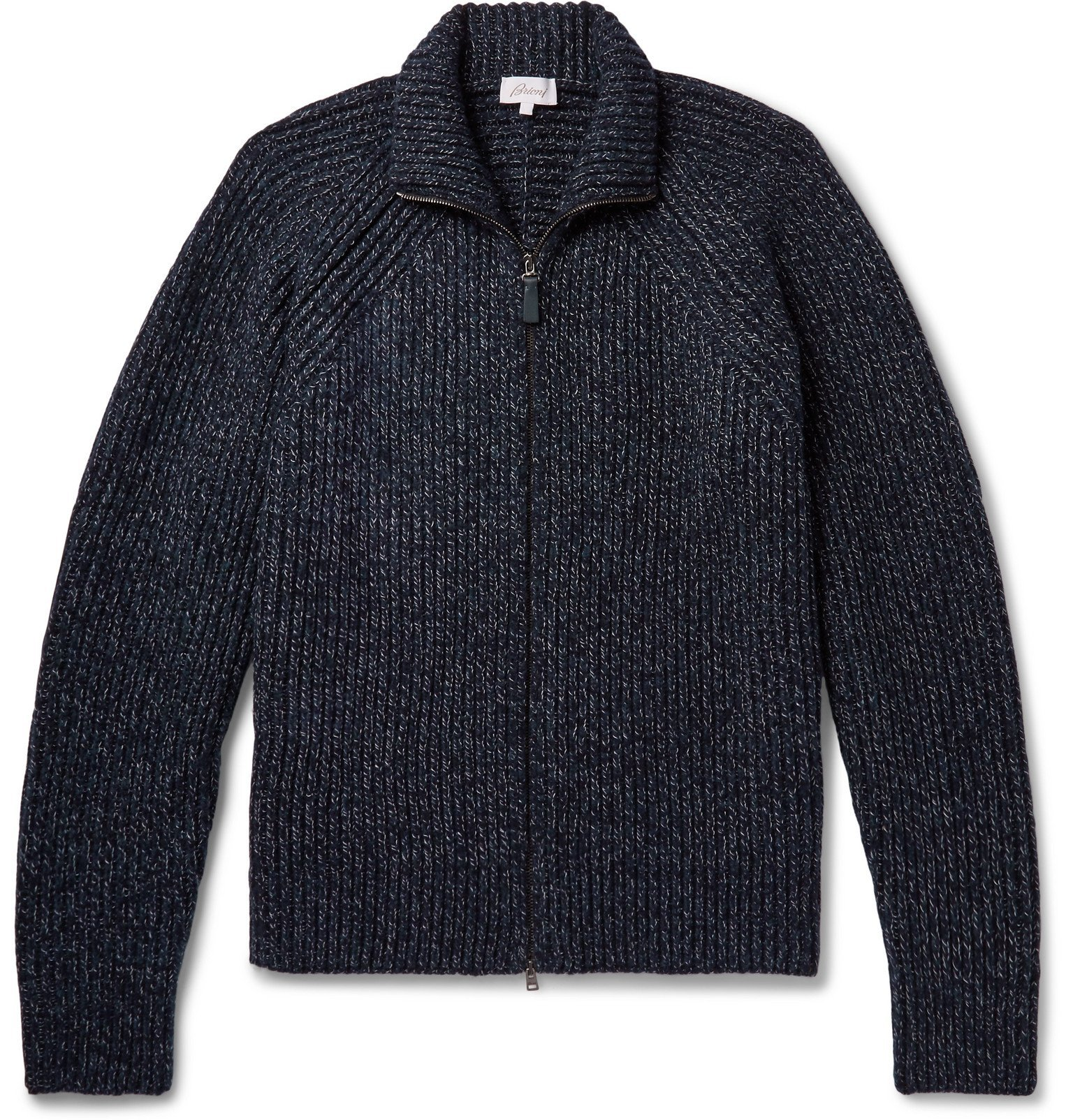 Photo: Brioni - Leather-Trimmed Wool Zip-Up Cardigan - Blue