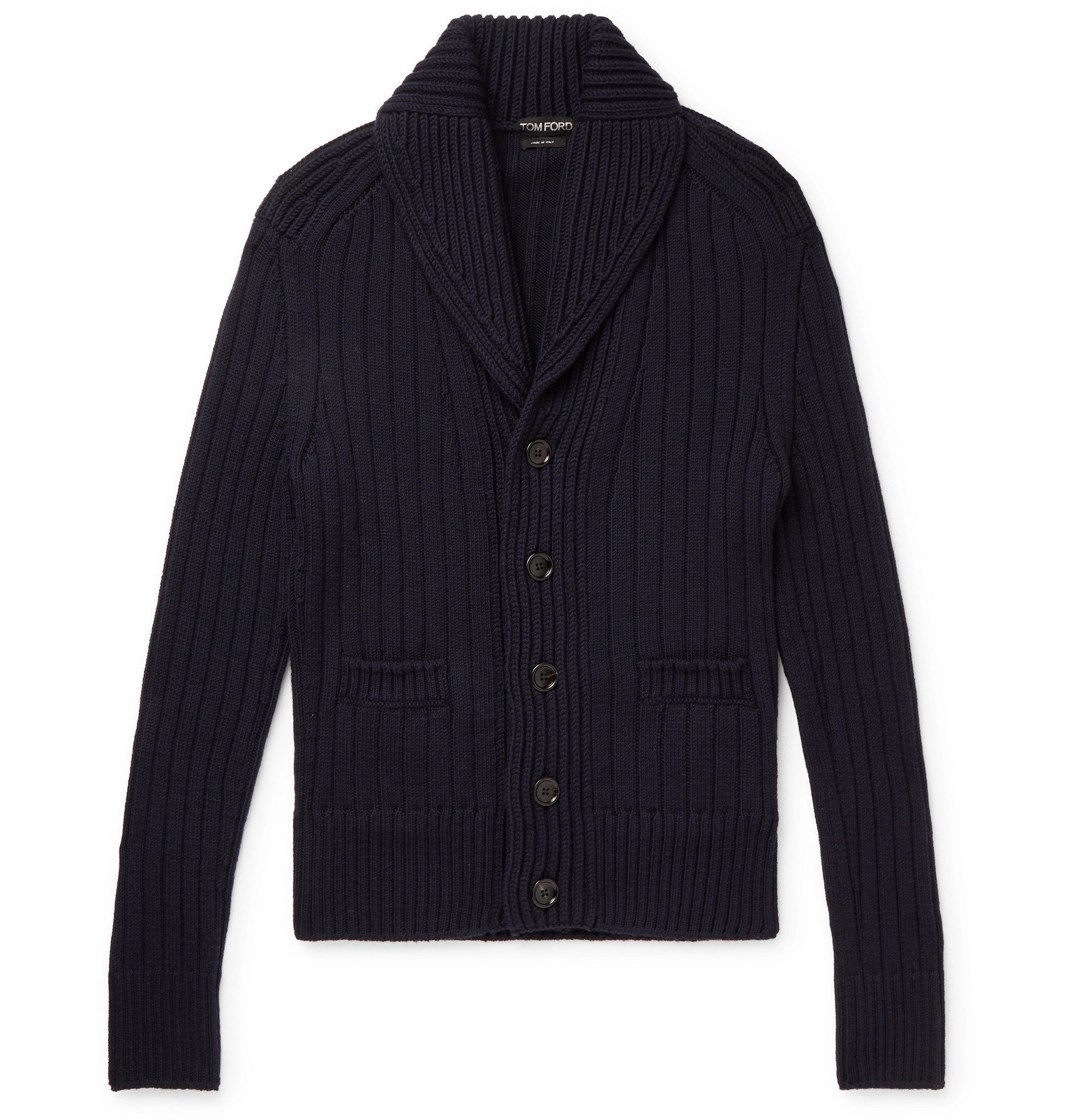 Photo: TOM FORD - Shawl-Collar Ribbed Merino Wool Cardigan - Blue