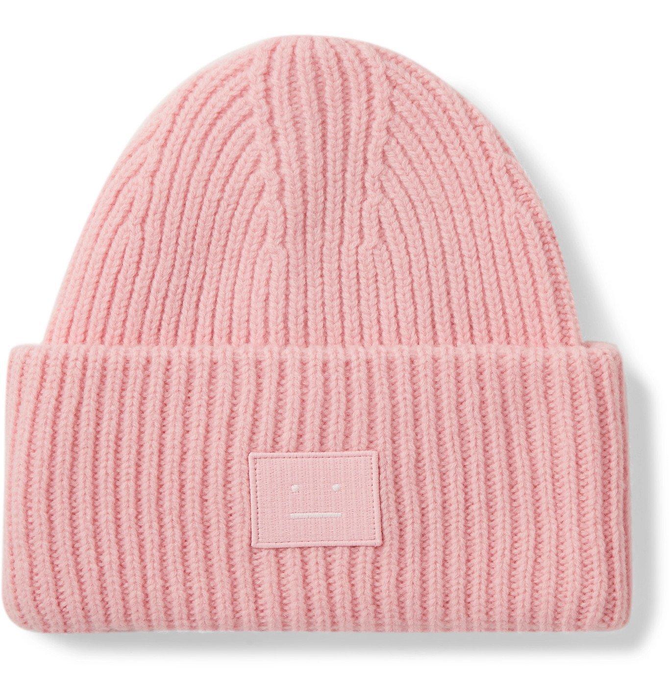 Photo: Acne Studios - Logo-Appliquéd Ribbed Wool Beanie - Pink