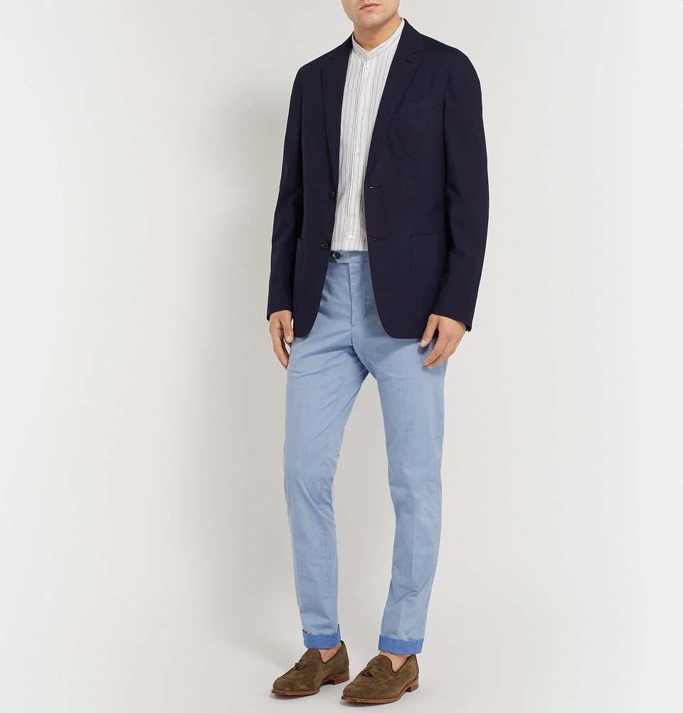 Tod's - Sky-Blue Mélange Tapered Solaro Stretch-Cotton Trousers - Blue