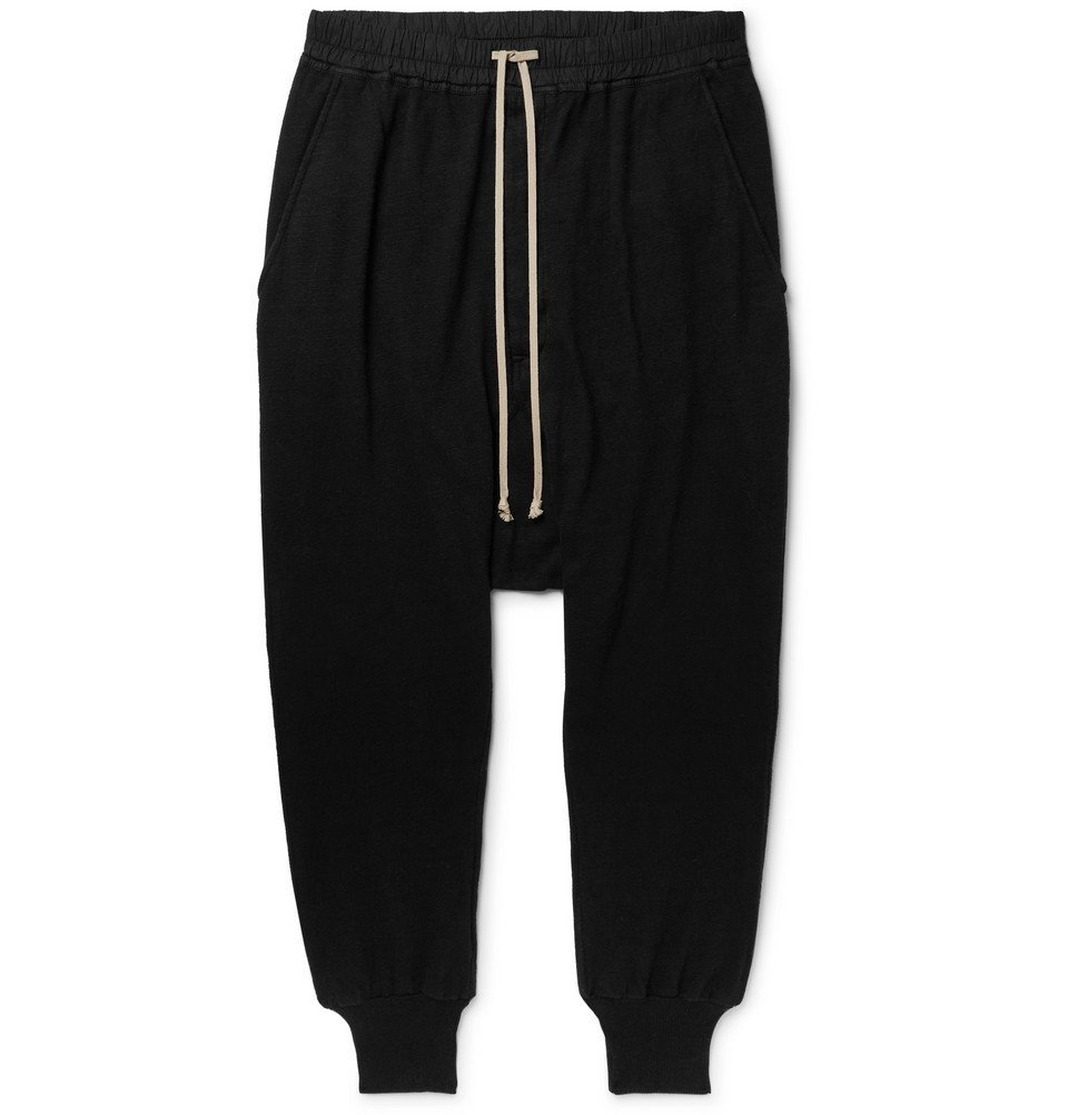 Photo: Rick Owens - DRKSHDW Tapered Cotton-Jersey Sweatpants - Black