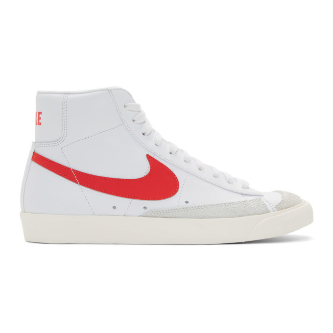 Photo: Nike White and Red Blazer Mid 77 Vintage Sneakers