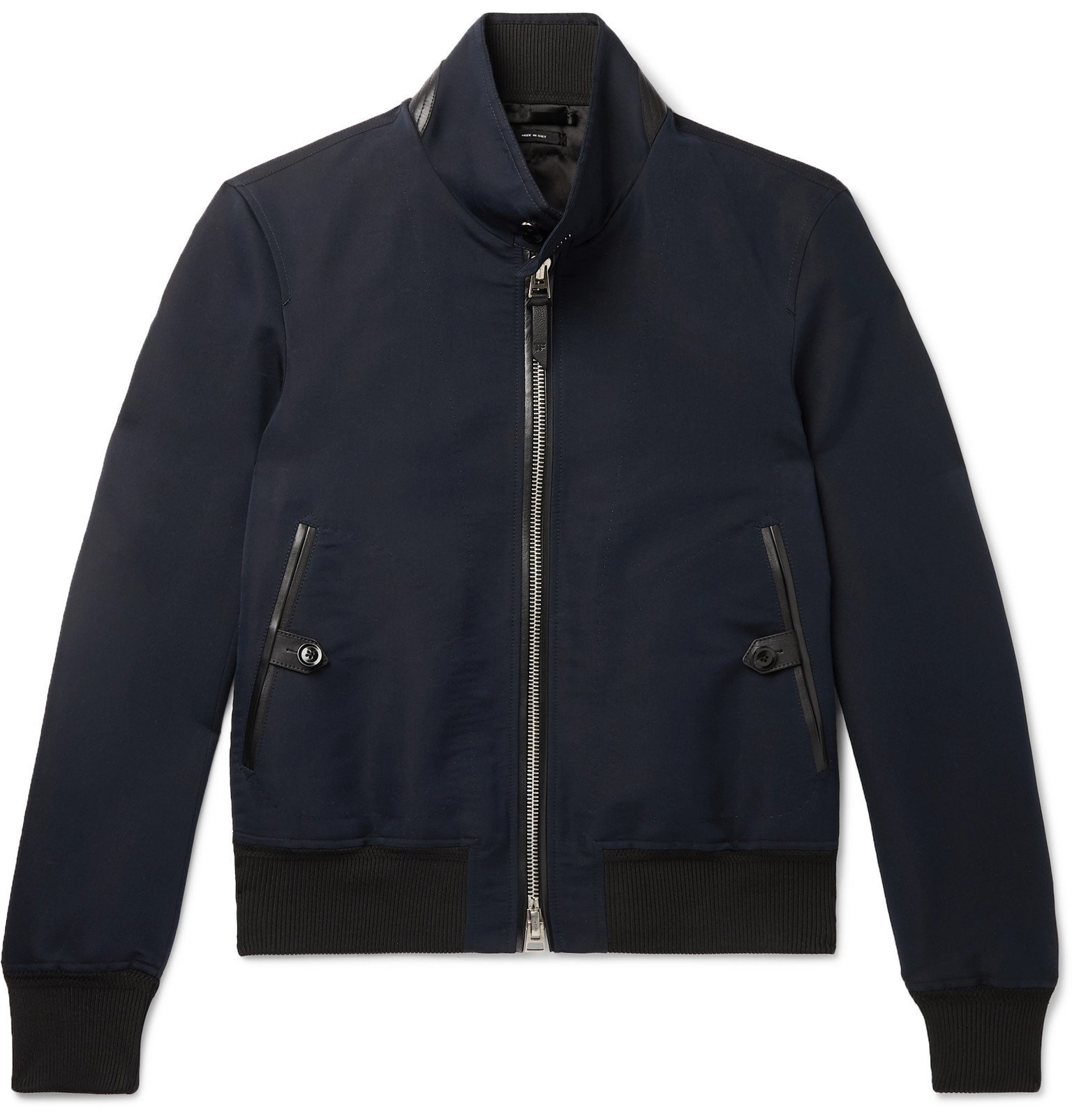 Photo: TOM FORD - Leather-Trimmed Cotton and Silk-Blend Harrington Jacket - Blue