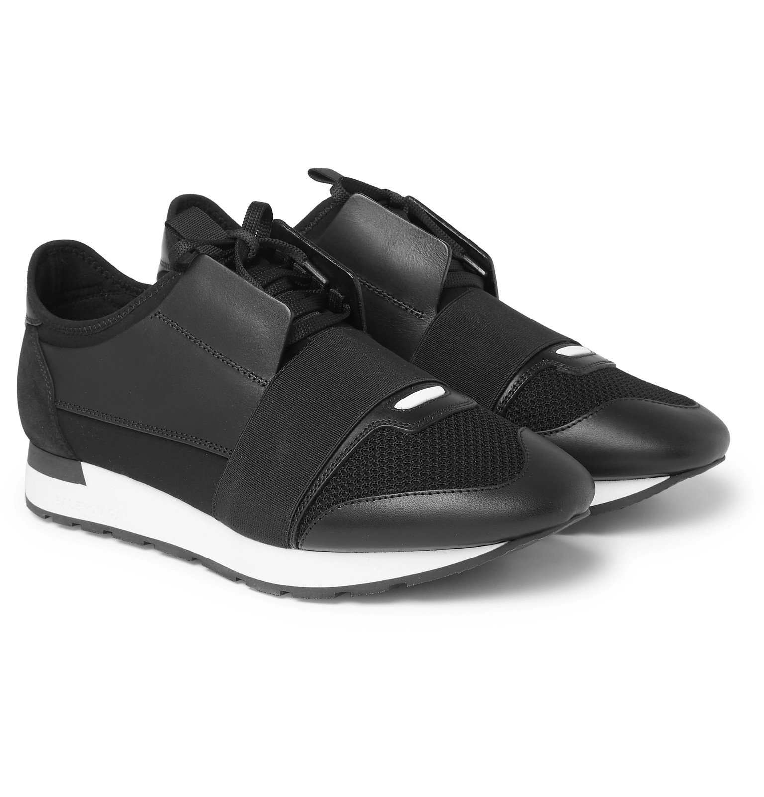 Photo: Balenciaga - Race Runner Leather, Neoprene, Suede and Mesh Sneakers - Black
